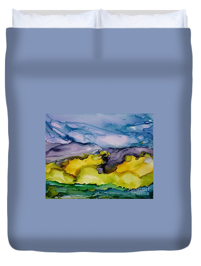 Landscape Duvet Cover featuring the painting Ocean View by Susan Kubes