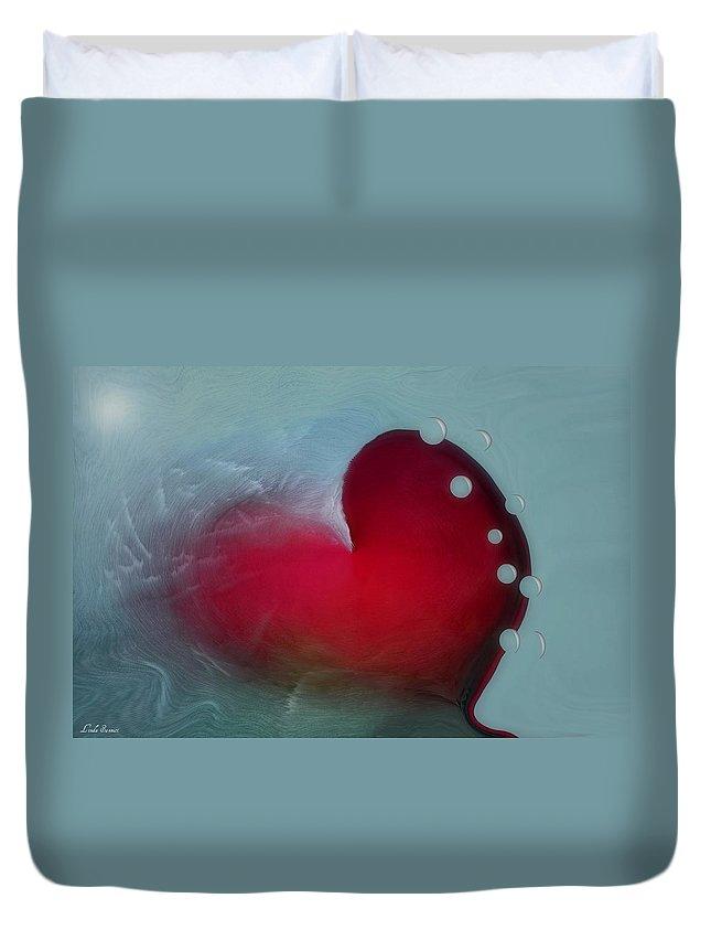 Hearts Duvet Cover featuring the digital art Oceans Heart by Linda Sannuti