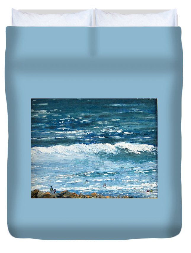 Waterscape Duvet Cover featuring the painting Oceanside 3 O'clock by Boris Garibyan