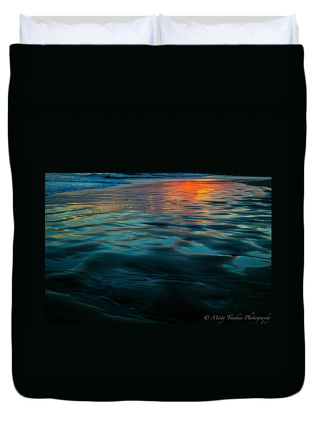 Beach Duvet Cover featuring the photograph Oceanside Reflective Sunset by Misty Tienken