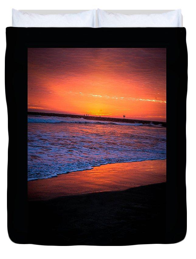 Oceanside Duvet Cover featuring the photograph Oceanside Sunset by Misty Tienken