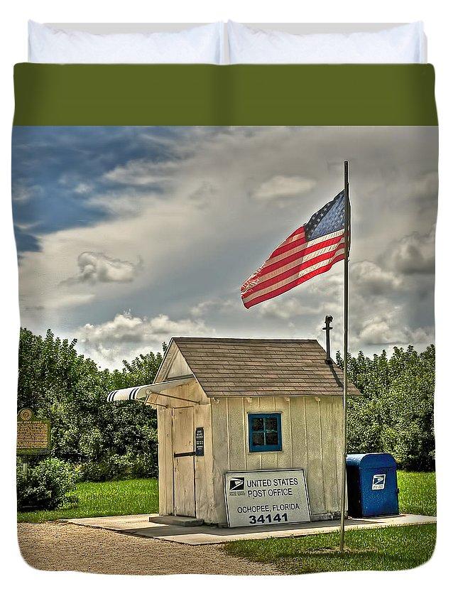 Ochopee Duvet Cover featuring the digital art Ochopee Florida Post Office by Ginger Wakem