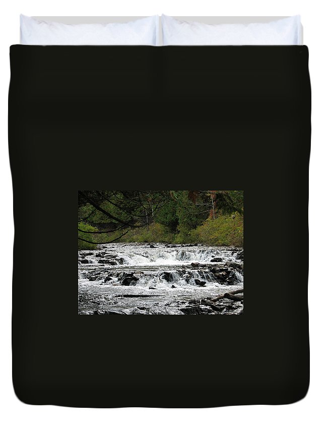Waterfall Duvet Cover featuring the photograph Ocqueoc by Kelly Mezzapelle