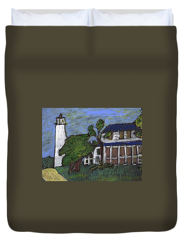 Light House Duvet Cover featuring the painting Ocracoke Island Light House by Wayne Potrafka