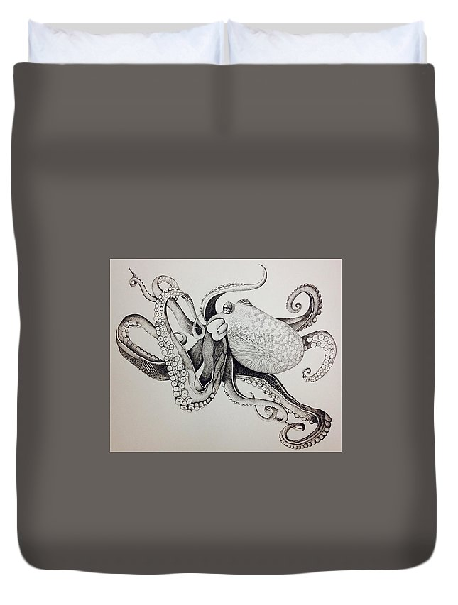 Sea Animal Duvet Cover featuring the drawing Octo by Chaelin Lee