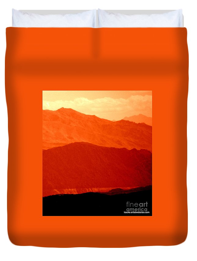 Orange Duvet Cover featuring the photograph October Hills by L Cecka