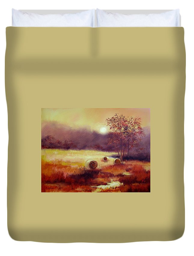 Fall Landscapes Duvet Cover featuring the painting October Pasture by Ginger Concepcion