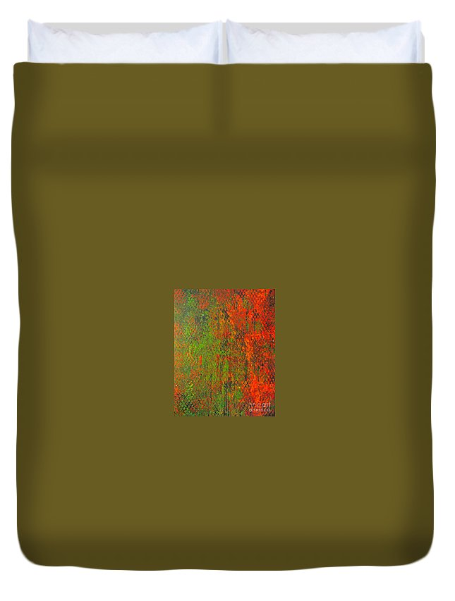 Heart Duvet Cover featuring the painting October Rust by Jacqueline Athmann