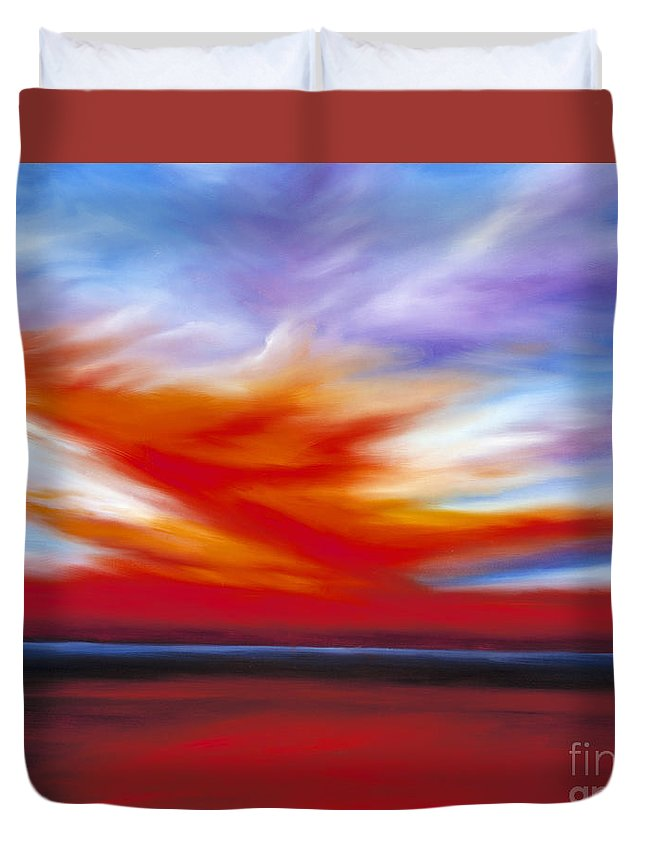 Seascape Duvet Cover featuring the painting October Sky II by James Christopher Hill