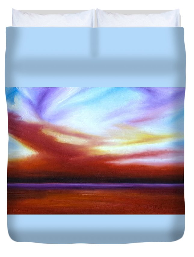 Skyscape Duvet Cover featuring the painting October Sky IIi by James Christopher Hill
