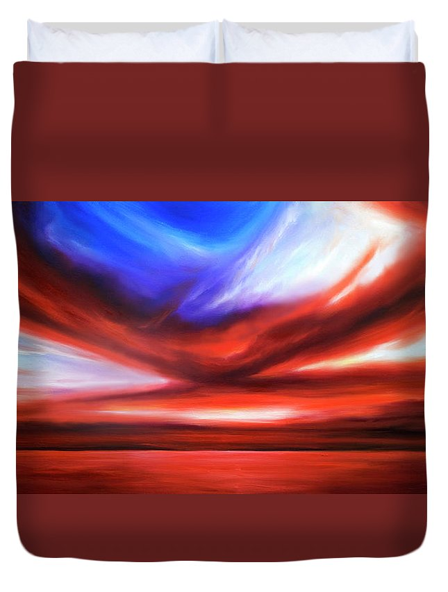 Sunrise; Sunset; Power; Glory; Cloudscape; Skyscape; Purple; Red; Blue; Stunning; Landscape; James C. Hill; James Christopher Hill; Jameshillgallery.com; Ocean; Lakes; Storm; Tornado; Lightning Duvet Cover featuring the painting October Sky V by James Christopher Hill