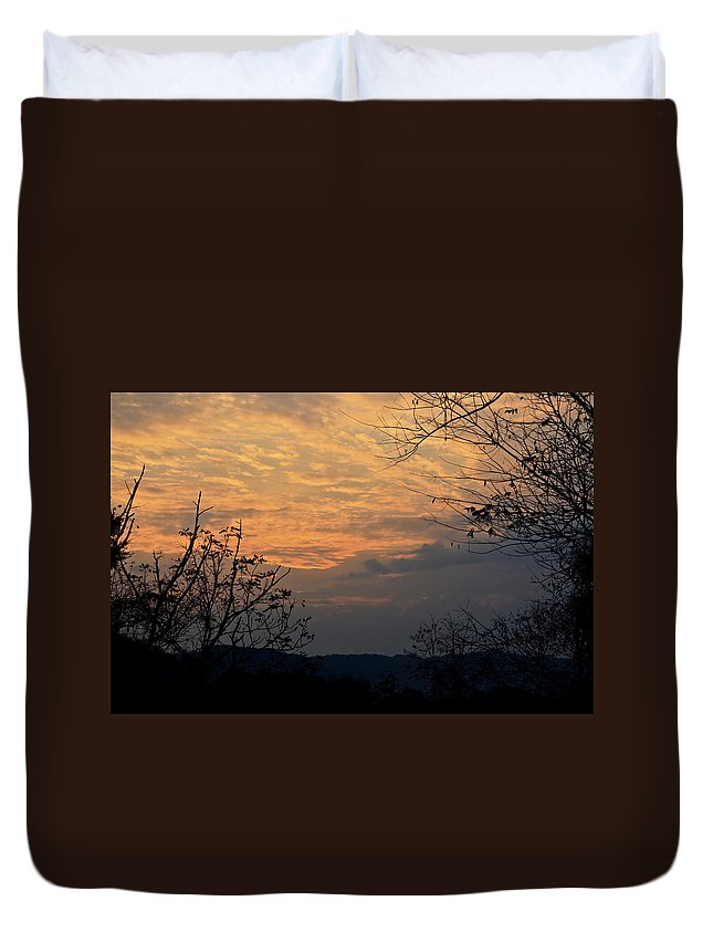 October Duvet Cover featuring the photograph October Sunset by Teresa Mucha