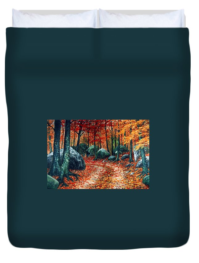 Landscape Duvet Cover featuring the painting October Woodland by Frank Wilson