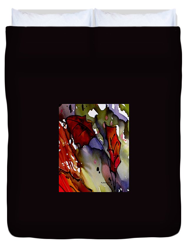 Leaf Duvet Cover featuring the mixed media Octoberfirst by Susan Kubes