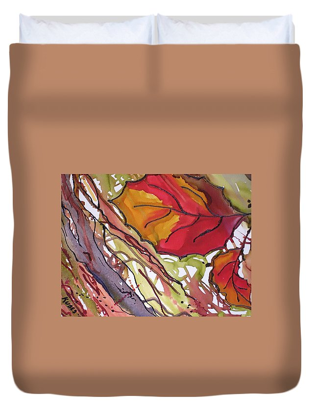 Leaf Duvet Cover featuring the mixed media Octobersecond by Susan Kubes