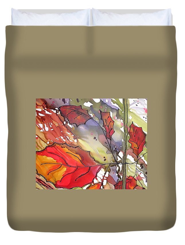 Leaf Duvet Cover featuring the mixed media Octoberthird by Susan Kubes