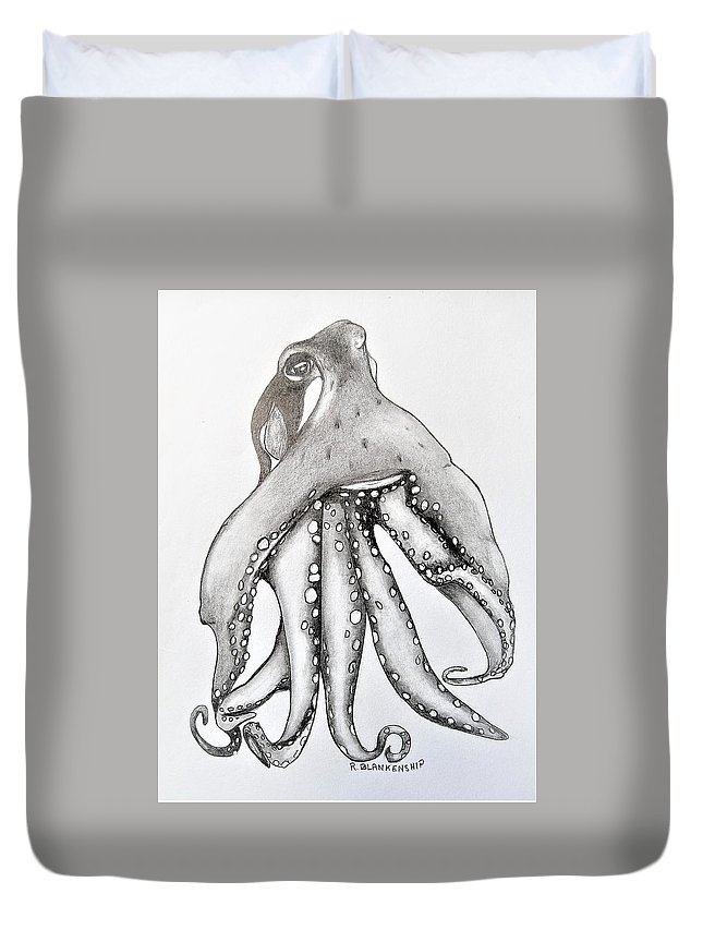 Water Duvet Cover featuring the drawing Octopus Of The Sea by Ralph Blankenship