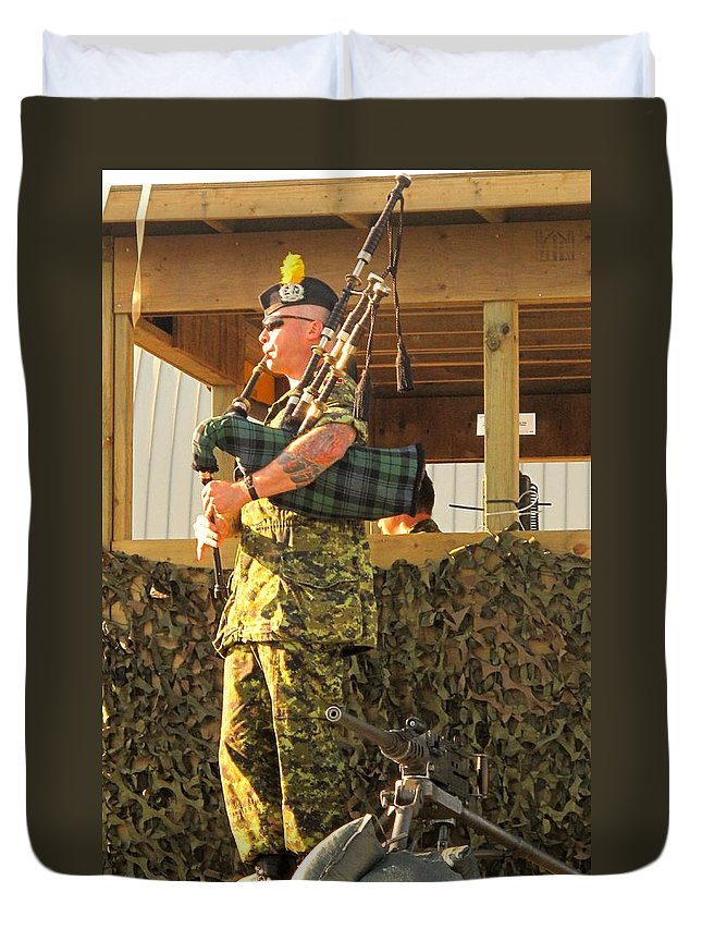 Machine Duvet Cover featuring the photograph Ode To A Machine Gun by Ian MacDonald