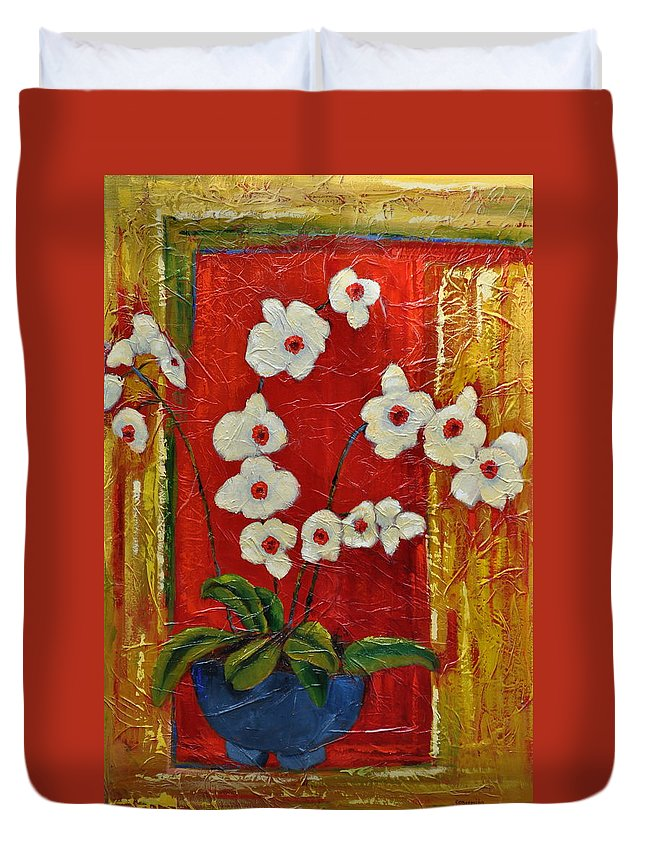 Orchids Duvet Cover featuring the painting Ode To Orchids by Ginger Concepcion