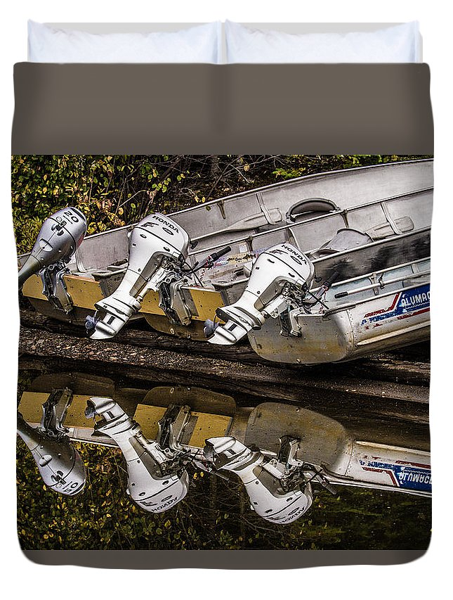 Boat Duvet Cover featuring the photograph Off Season Outboards by Rikk Flohr