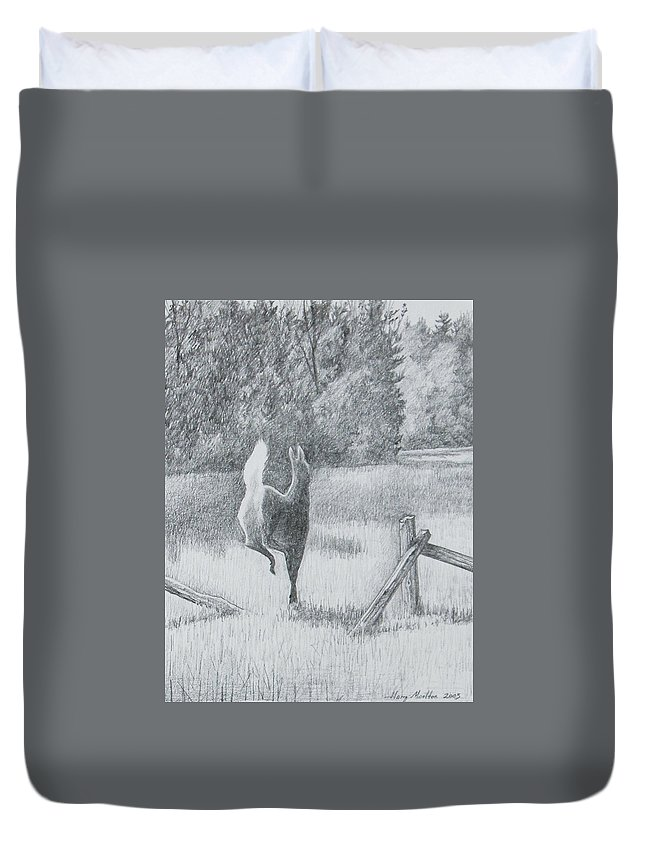 Deer Duvet Cover featuring the drawing Off She Goes by Harry Moulton