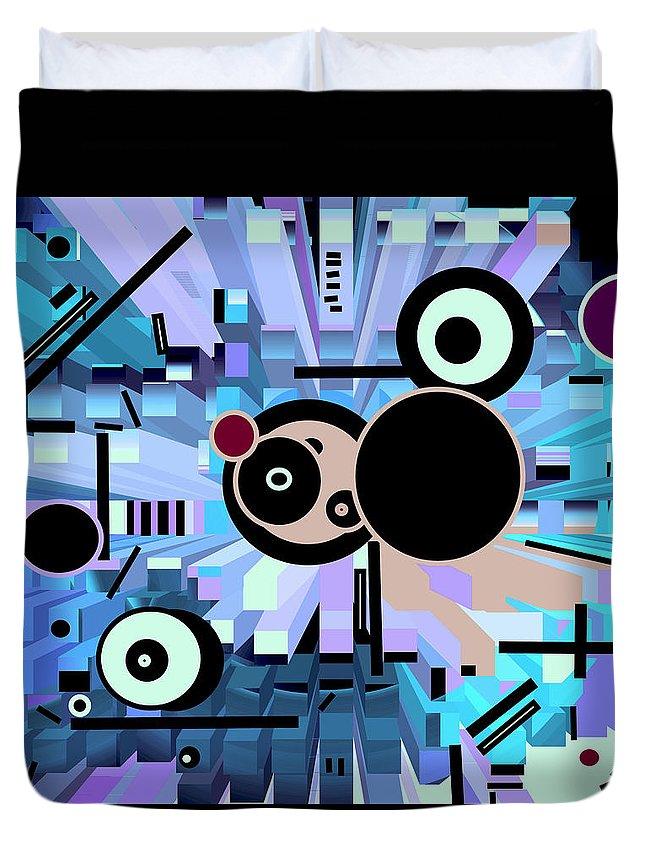 Spatial Duvet Cover featuring the digital art Off The Grid 62 by Lynda Lehmann