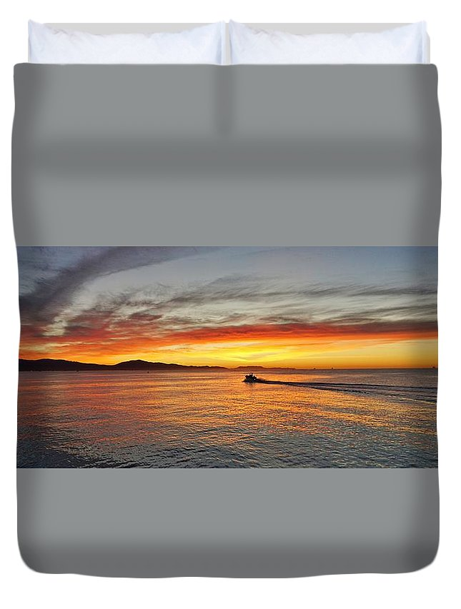 Boat Duvet Cover featuring the photograph Off To Work by John Pierpont