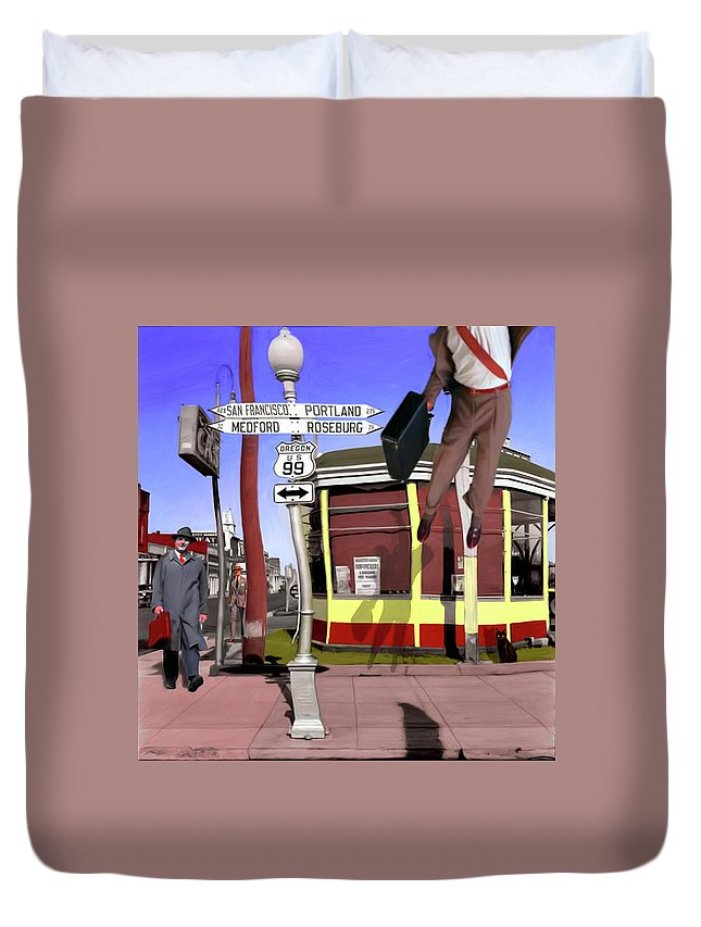 City Duvet Cover featuring the digital art Off To Work by Snake Jagger