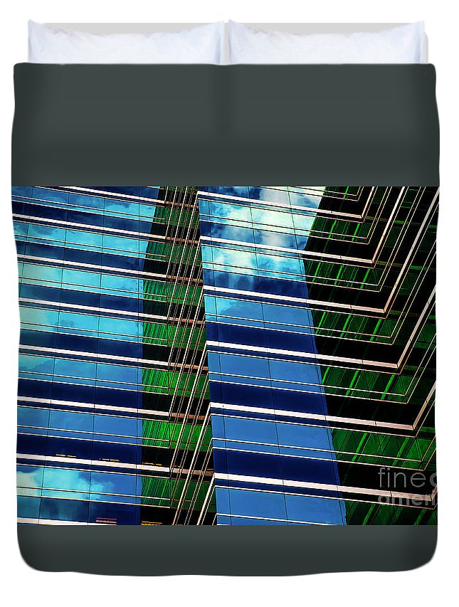 Office Buildings Duvet Cover featuring the photograph Office Abstract by DeWayne Beard