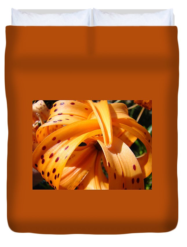 Lilies Duvet Cover featuring the photograph Office Art Floral Artwork Orange Tiger Lily Baslee Troutman by Baslee Troutman