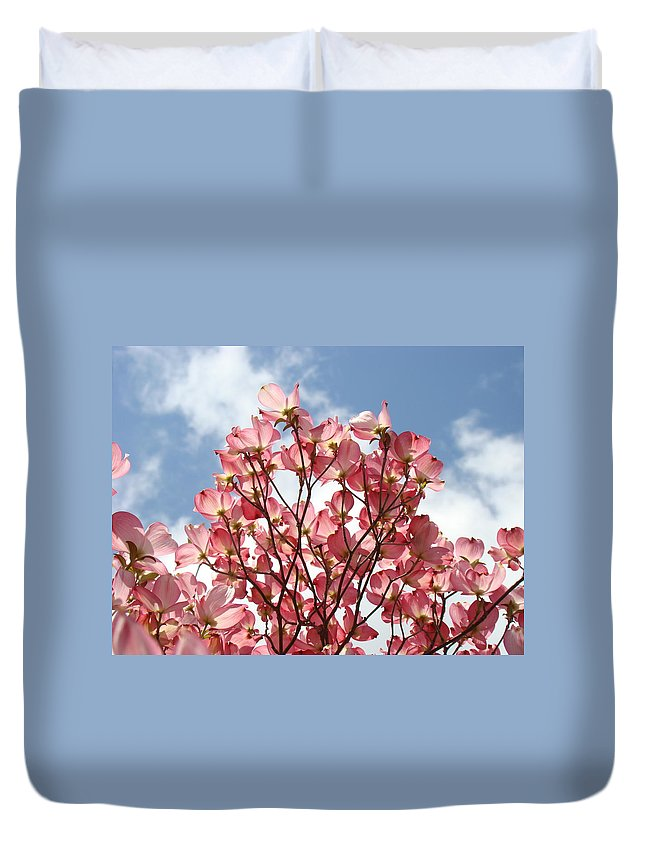 Office Duvet Cover featuring the photograph Office Art Prints Blue Sky Pink Dogwood Flowering 7 Giclee Prints Baslee Troutman by Baslee Troutman