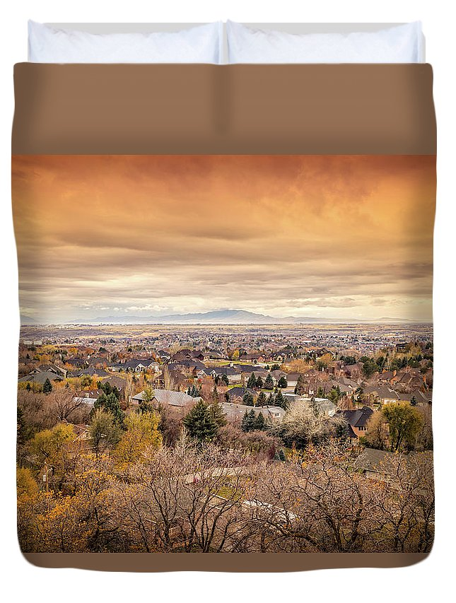 Rooftops Duvet Cover featuring the photograph Ogden, Utah Landscape by Paul Thompson