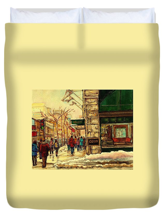 Ogilvys Department Store Duvet Cover featuring the painting Ogilvys Department Store Downtown Montreal by Carole Spandau
