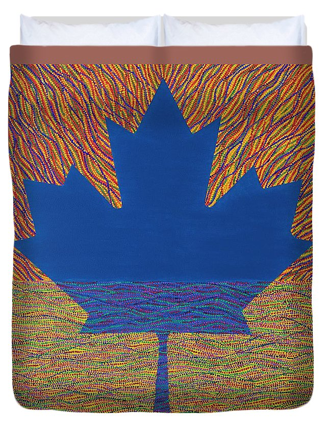 Modern Duvet Cover featuring the painting Oh Canada 2 by Kyung Hee Hogg