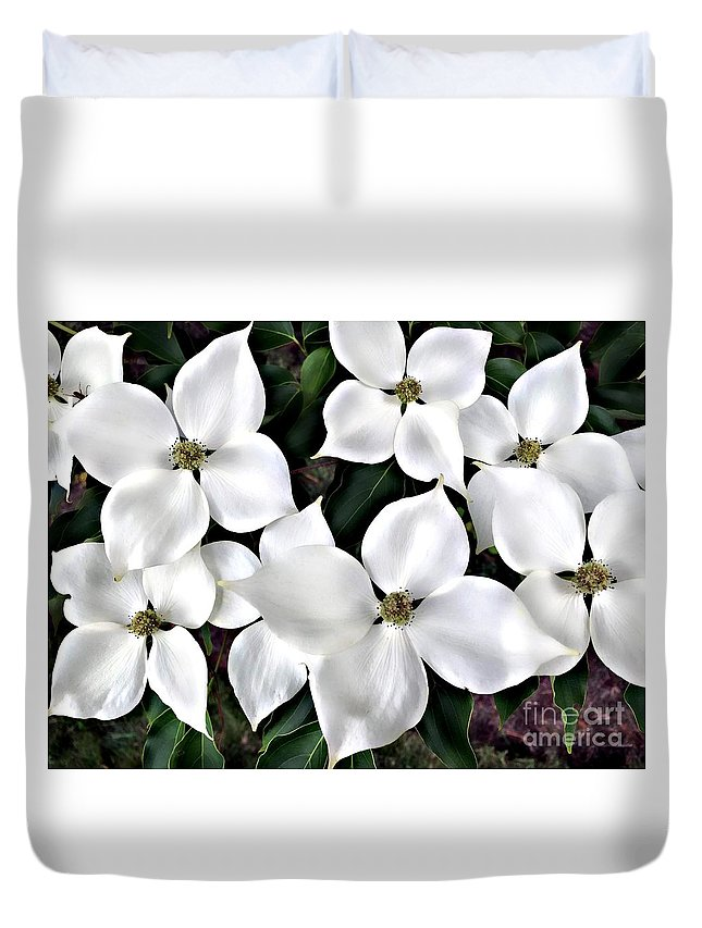 Floral Duvet Cover featuring the photograph Oh Dogwood by Roxanne Marshal