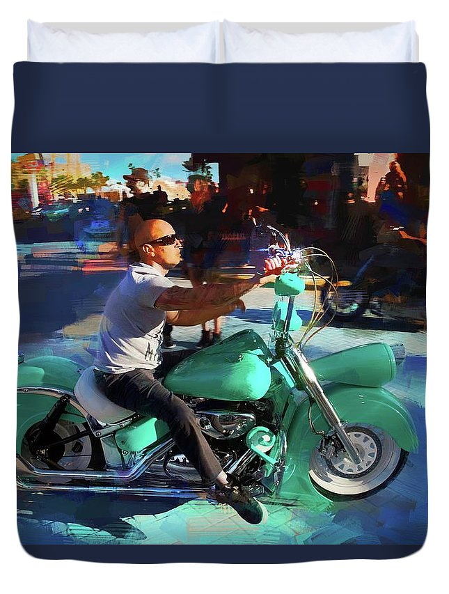 Alicegipsonphotographs Duvet Cover featuring the photograph Oh So Turq Biker by Alice Gipson