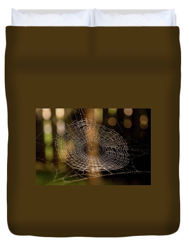 Spider Web Duvet Cover featuring the photograph Oh What Tangled Webs.... by James Fitterer