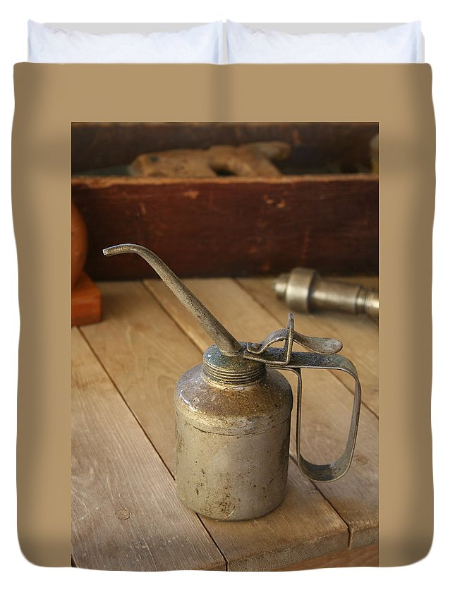 Tool Duvet Cover featuring the photograph Oil Can by Marna Edwards Flavell