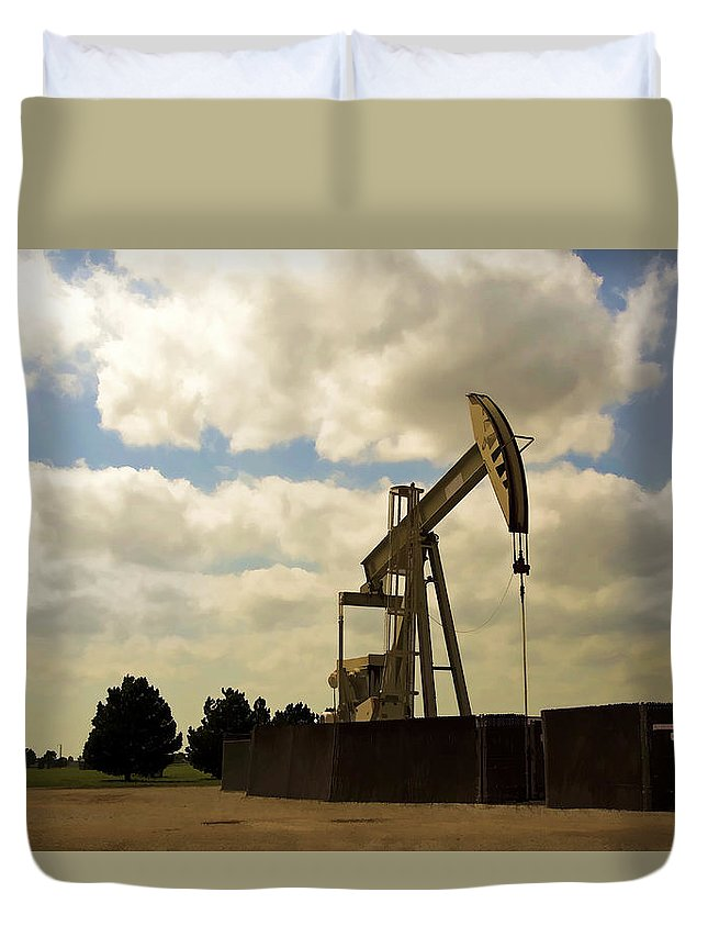 Oil Duvet Cover featuring the photograph Oil Pumpjack by Ricky Barnard