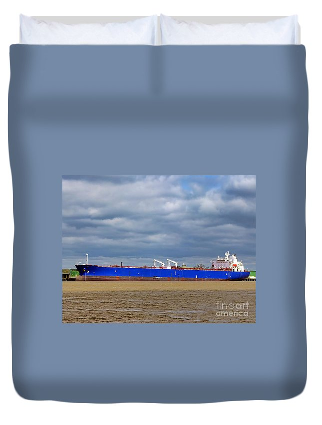 Boat Duvet Cover featuring the photograph Oil Tanker Ship At Dock by Olivier Le Queinec
