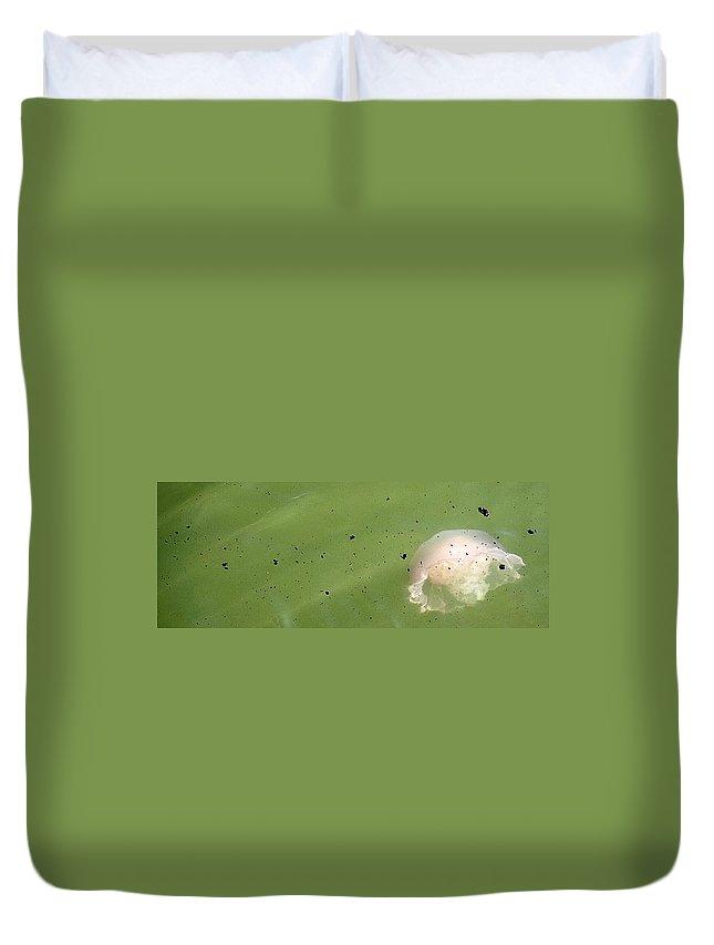 Oil Spill Duvet Cover featuring the photograph Oil Vs Jellyfish by Kurt Hausmann