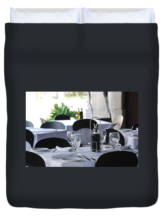 Tables Duvet Cover featuring the photograph Oils And Glass At Dinner by Rob Hans