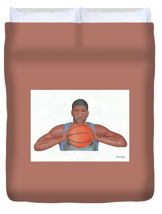 Basketball Duvet Cover featuring the drawing O.j Mayo by Toni Jaso