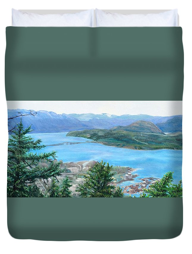 Kelowna Duvet Cover featuring the painting Okanagan Blue by Bonnie Heather