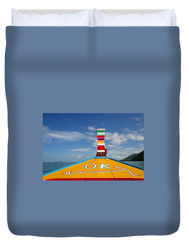 Duvet Cover featuring the photograph Okay In Thailand by Minaz Jantz