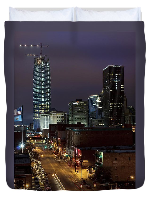 Oklahoma Duvet Cover featuring the photograph Okc Evening by Ricky Barnard