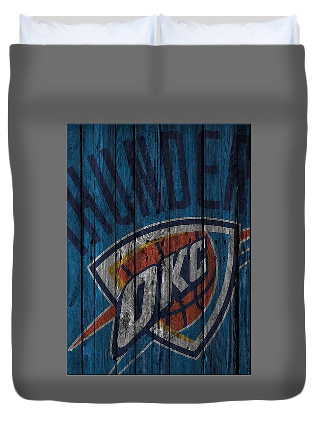 Thunder Duvet Cover featuring the photograph Oklahoma City Thunder Wood Fence by Joe Hamilton