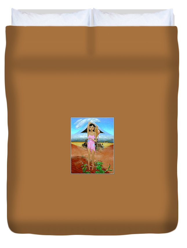 Country Girl Duvet Cover featuring the painting Oklahoma Girl With Mt.fuji by Jerrold Carton