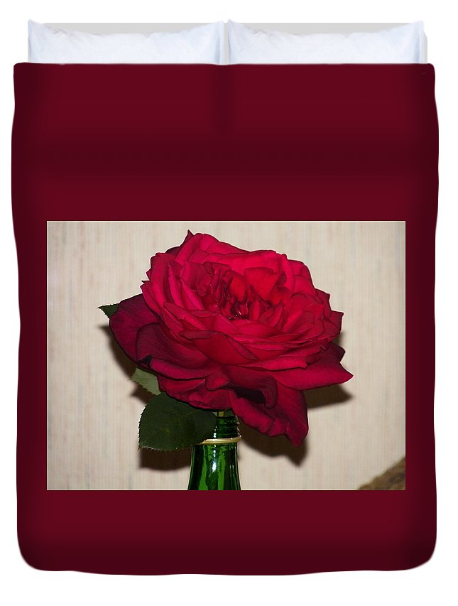 Red Duvet Cover featuring the painting Oklahoma Red Rose by Laurie Kidd