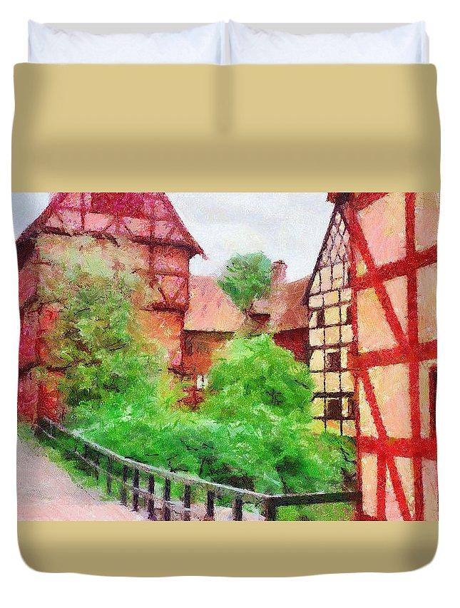 Aarhus Duvet Cover featuring the painting Old Aarhus by Jeffrey Kolker